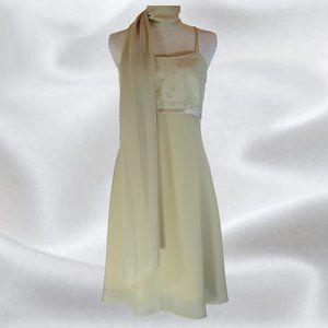 NWT Algo Beige Dress with Scarf in Size 8